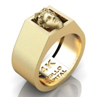 Apollo Mens Matte 24K Yellow Gold Ring R2400-24KYGSS