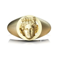 Apollo Mens Matte 24K Yellow Gold Ring R2402-24KYGSS