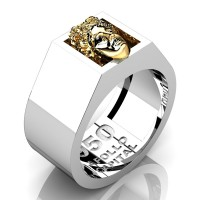 Apollo Mens 950 Platinum 24K Gold Ring R950-PLAT24K