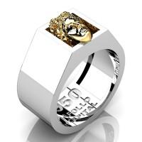 Apollo Mens 950 Platinum 24K Gold Ring R950-PLAT24K