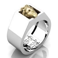 Apollo Mens 950 Platinum 24K Gold Ring R950-PLAT24KS