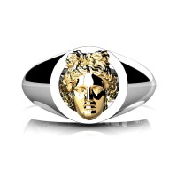 Apollo Mens 950 Platinum 24K Gold Ring R952-PLAT24K