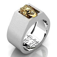Apollo Mens Matte 950 Platinum 24K Gold Ring R950-PLATS24K