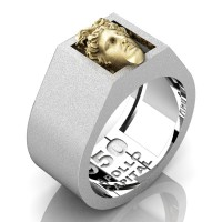 Apollo Mens Matte 950 Platinum 24K Gold Ring R950-PLATS24KS