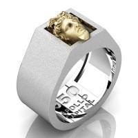 Apollo Mens Matte 950 Platinum 24K Gold Ring R950-PLATS24KS