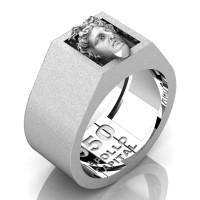 Apollo Mens Matte 950 Platinum Ring R950-PLATSS