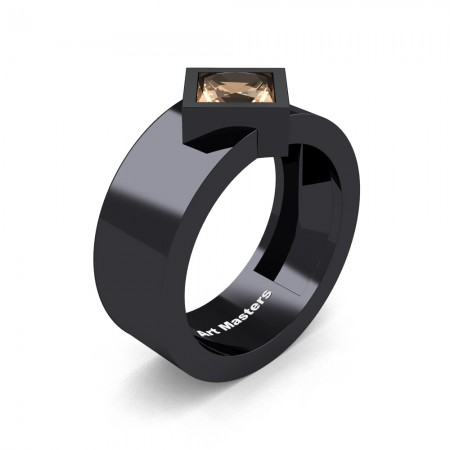 Mens-14K-Black-Gold-1-5-Ct-Kite-Princess-Champagne-Diamond-Modern-Wedding-Ring-R39NP-14KBGCHD-P
