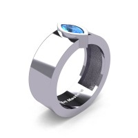 Mens 14K White Gold 0.5 Ct Kite Marquise Blue Topaz Modern Wedding Ring R39NM-14KWGBT