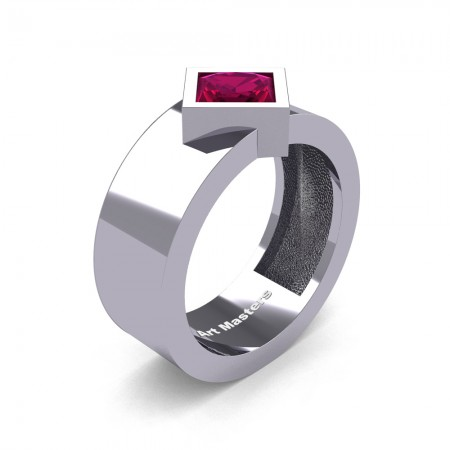 Mens-14K-White-Gold-1-5-Ct-Kite-Princess-Garnet-Modern-Wedding-Ring-R39NP-14KWGG-P