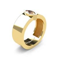 Mens 14K Yellow Gold 0.5 Ct Kite Marquise Champagne Diamond Modern Wedding Ring R39NM-14KYGCHD