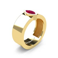 Mens 14K Yellow Gold 0.5 Ct Kite Marquise Garnet Modern Wedding Ring R39NM-14KYGG