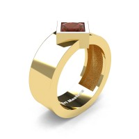 Mens 14K Yellow Gold 1.5 Ct Kite Princess Brown Diamond Modern Wedding Ring R39NP-14KYGBRD