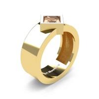 Mens 14K Yellow Gold 1.5 Ct Kite Princess Champagne Diamond Modern Wedding Ring R39NP-14KYGCHD