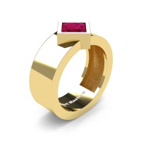Mens 14K Yellow Gold 1.5 Ct Kite Princess Garnet Modern Wedding Ring R39NP-14KYGG