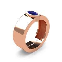 Mens 14K Rose Gold 0.5 Ct Kite Marquise Blue Sapphire Modern Wedding Ring R39NM-14KRGBS