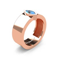 Mens 14K Rose Gold 0.5 Ct Kite Marquise Blue Topaz Modern Wedding Ring R39NM-14KRGBT