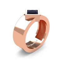 Mens 14K Rose Gold 1.5 Ct Kite Princess Black Diamond Modern Wedding Ring R39NP-14KRGBD
