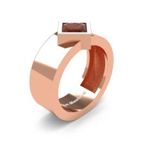 Mens 14K Rose Gold 1.5 Ct Kite Princess Brown Diamond Modern Wedding Ring R39NP-14KRGBRD