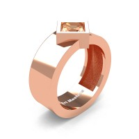Mens 14K Rose Gold 1.5 Ct Kite Princess Champagne Diamond Modern Wedding Ring R39NP-14KRGCHD
