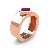 Mens 14K Rose Gold 1.5 Ct Kite Princess Garnet Modern Wedding Ring R39NP-14KRGG