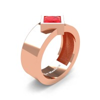 Mens 14K Rose Gold 1.5 Ct Kite Princess Ruby Modern Wedding Ring R39NP-14KRGR