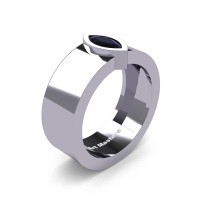 Mens 14K White Gold 0.5 Ct Kite Marquise Black Diamond Modern Wedding Ring R39NM-14KWGBD