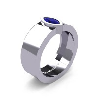 Mens 14K White Gold 0.5 Ct Kite Marquise Blue Sapphire Modern Wedding Ring R39NM-14KWGBS