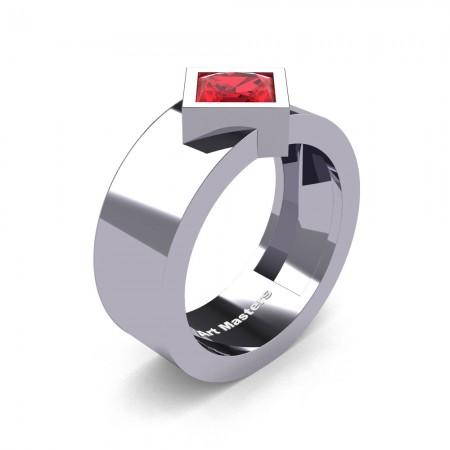 Mens-Modern-14K-White-Gold-1-5-Ct-Kite-Princess-Ruby-Wedding-Ring-R39NP-14KWGR-P