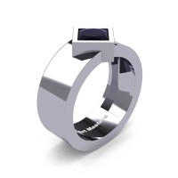 Mens 14K White Gold 1.5 Ct Kite Princess Black Diamond Modern Wedding Ring R39NP-14KWGBD