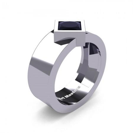 Mens-Modern-14K-White-Gold-1-5-Ct-Princess-Black-Diamond-Wedding-Ring-R39NP-14KWGBD-P
