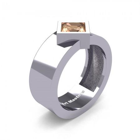 Mens-Modern-14K-White-Gold-1-5-Ct-Princess-Champagne-Diamond-Wedding-Ring-R39NP-14KWGCHD-P