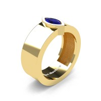 Mens 14K Yellow Gold 0.5 Ct Kite Marquise Blue Sapphire Modern Wedding Ring R39NM-14KYGBS
