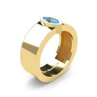 Mens 14K Yellow Gold 0.5 Ct Kite Marquise Blue Topaz Modern Wedding Ring R39NM-14KYGBT
