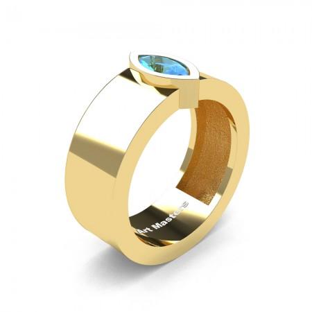 Mens-Modern-14K-Yellow-Gold-0-5-Ct-Kite-Marquise-Blue-Topaz-Wedding-Ring-R39NM-14KYGBT-P