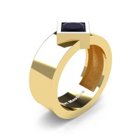 Mens 14K Yellow Gold 1.5 Ct Kite Princess Black Diamond Modern Wedding Ring R39NP-14KYGBD
