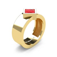 Mens 14K Yellow Gold 1.5 Ct Kite Princess Ruby Modern Wedding Ring R39NP-14KYGR