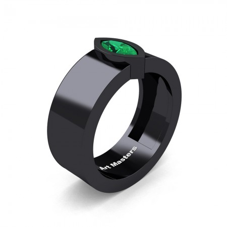 Womens-14K-Black-Gold-0-5-Ct-Kite-Marquise-Emerald-Modern-Wedding-Ring-R39NMF-14KBGEM-P