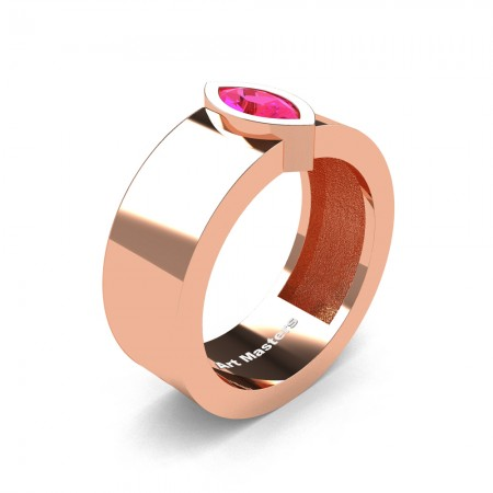 Womens-Modern-14K-Rose-Gold-0-5-Ct-Kite-Marquise-Pink-Sapphire-Wedding-Ring-R39NMF-14KRGPS-P
