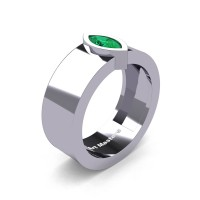 Womens 14K White Gold 0.5 Ct Kite Marquise Emerald Modern Wedding Ring R39NMF-14KWGEM