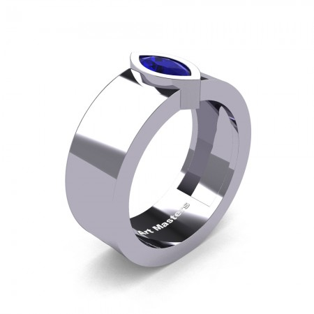 Womens-Modern-14K-White-Gold-0-5-Ct-Marquise-Blue-Sapphire-Wedding-Ring-R39NMF-14KWGBS-P