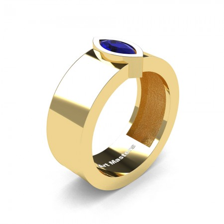 Womens-Modern-14K-Yellow-Gold-0-5-Ct-Kite-Marquise-Blue-Sapphire-Wedding-Ring-R39NMF-14KYGBS-P