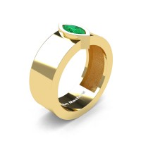 Womens 14K Yellow Gold 0.5 Ct Kite Marquise Emerald Modern Wedding Ring R39NMF-14KYGEM