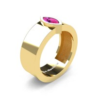 Womens 14K Yellow Gold 0.5 Ct Kite Marquise Pink Sapphire Modern Wedding Ring R39NMF-14KYGPS
