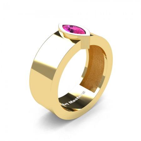 Womens-Modern-14K-Yellow-Gold-0-5-Ct-Kite-Marquise-Pink-Sapphire-Wedding-Ring-R39NMF-14KYGPS-P