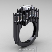 Avant Garde 14K Black Gold 2.62 Ct Emerald Cut 4.0 Ct Baguette Cut White Sapphire Engagement Ring R424-14KBGWS