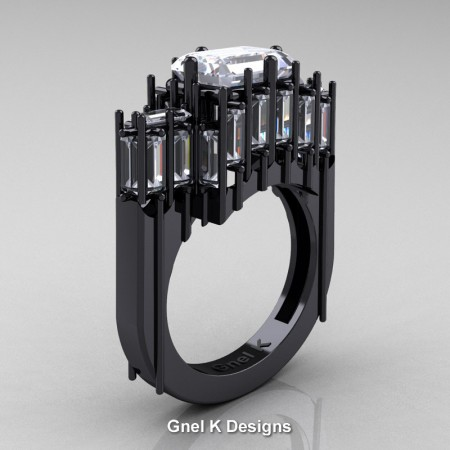 Avant-Garde-14K-Black-Gold-Emerald-White-Sapphire-Baguette-White-Sapphire-Cathedral-Wedding-Ring-R424-14KBGWS-P2