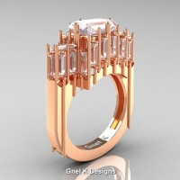 Avant Garde 14K Rose Gold 2.62 Ct Emerald Cut 4.0 Ct Baguette Cut White Sapphire Engagement Ring R424-14KRGWS