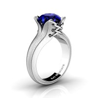 French Classic 14K White Gold 3.0 Ct Blue Sapphire Solitaire Corset Ring R456-14KWGSBS