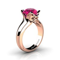 French Classic 14K Rose Gold 3.0 Ct Pink Sapphire Solitaire Corset Ring R456-14KRGGPS