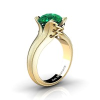 French Classic 14K Yellow Gold 3.0 Ct Emerald Solitaire Corset Ring R456-14KYGSEM